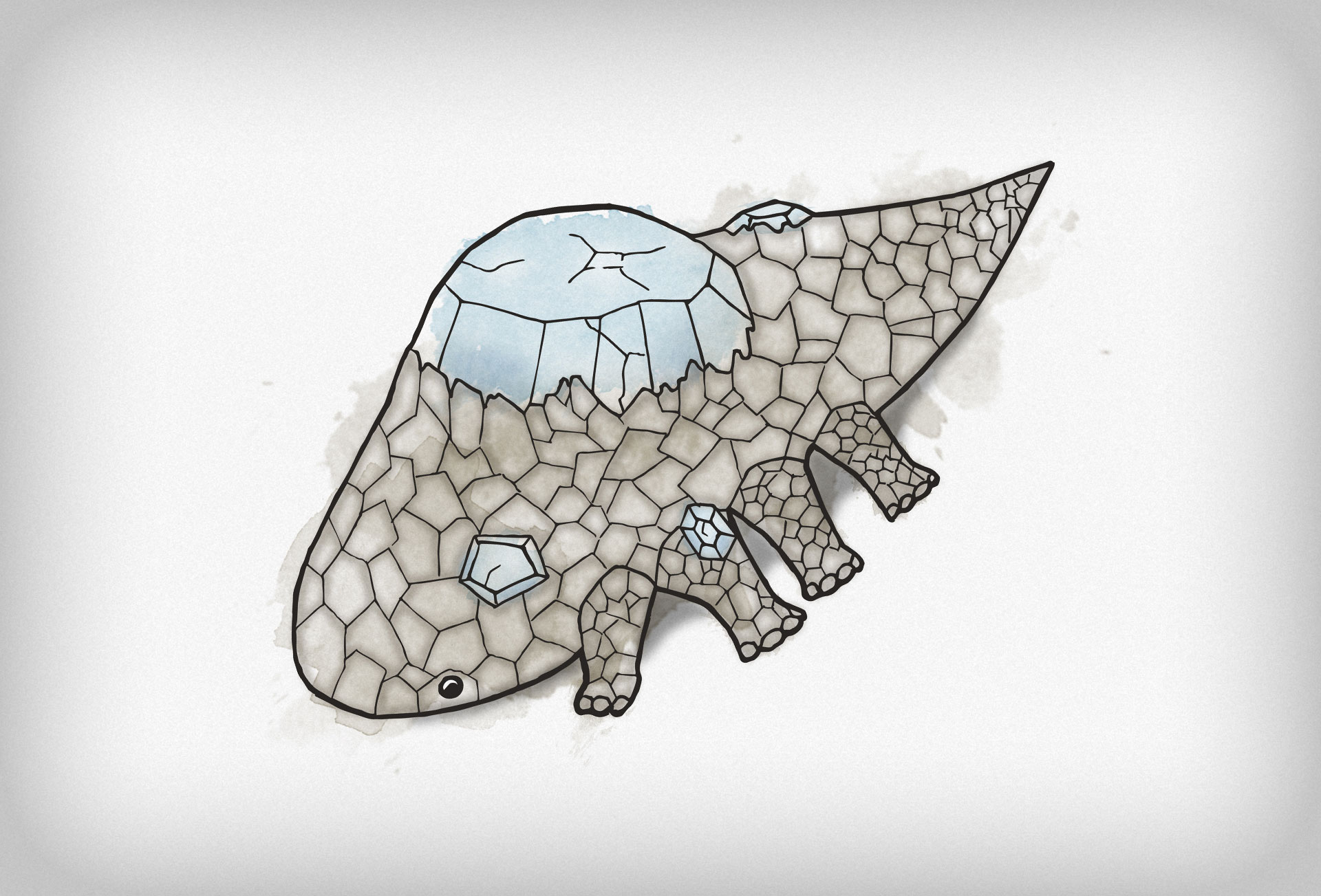An illustration of a Crystal Lizard from Dark Souls.